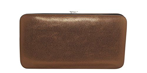 Chicastic Brown Small Glossy Snakeskin Flat Hard Clutch W...