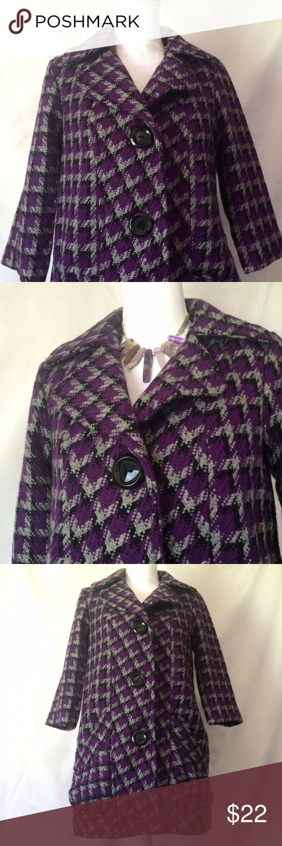 Purple Houndstooth Pea Coat NWT Descriptions to come later this evening. Tulle Jackets & Coats Pea Coats