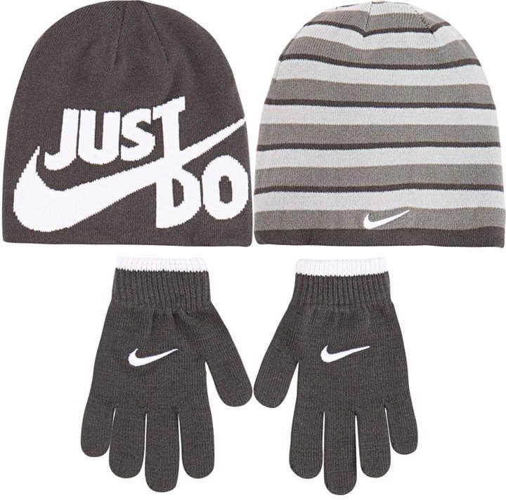 Nike Big Boys 2-Pc. Reversible Beanie Hat   Gloves Set - Blue ... b8c5978d34c7