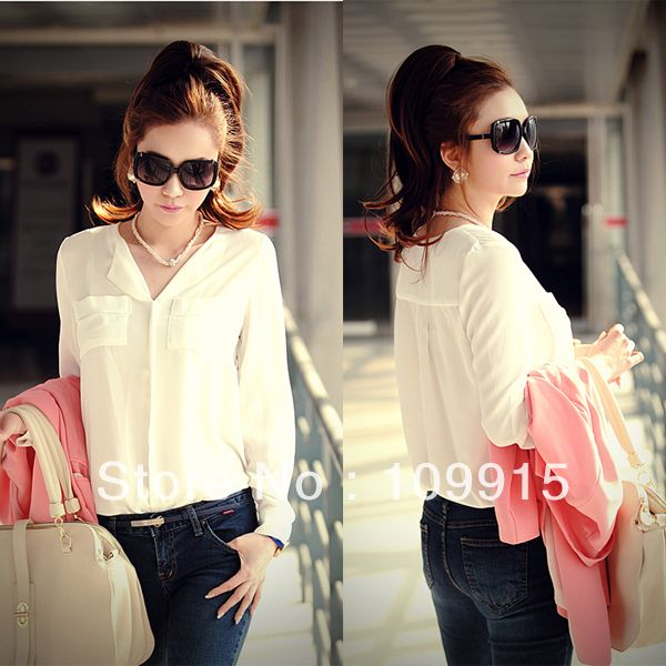 264d9c84 Womens OL Career Solid Long Sleeve Casual Chiffon Blouse Tops Button Down  Shirts HR613 Free Shipping US $6.60