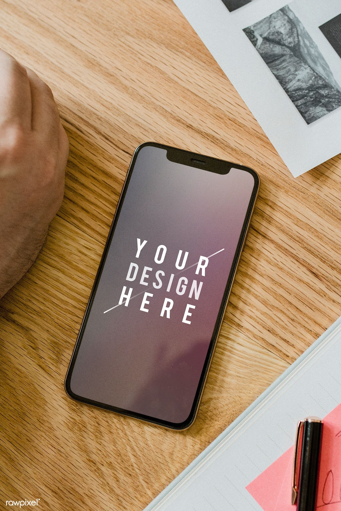 Download Premium Psd Of Blank Mobile Phone Mockup On A Wooden Table 2012934 Phone Mockup Best Mobile Phone Mobile Phone