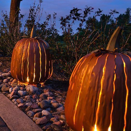 Tall Pumpkin Luminary GrandinRoad Pinterest Metal pumpkins - outdoor halloween decorations