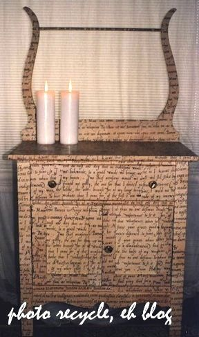 Love the decoupage newspaper print on this wash stand  Craft