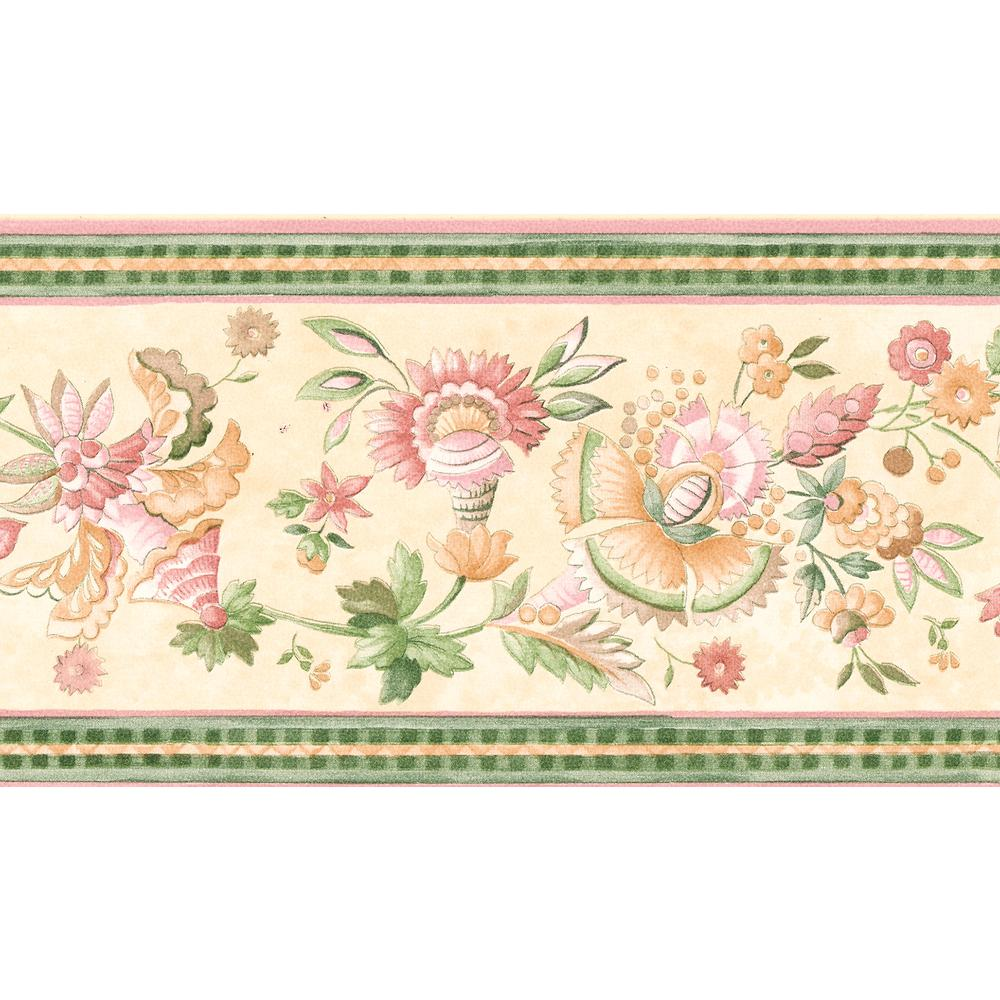 Pink Jacobean Floral Wallpaper Border 499b7024 Pink Green