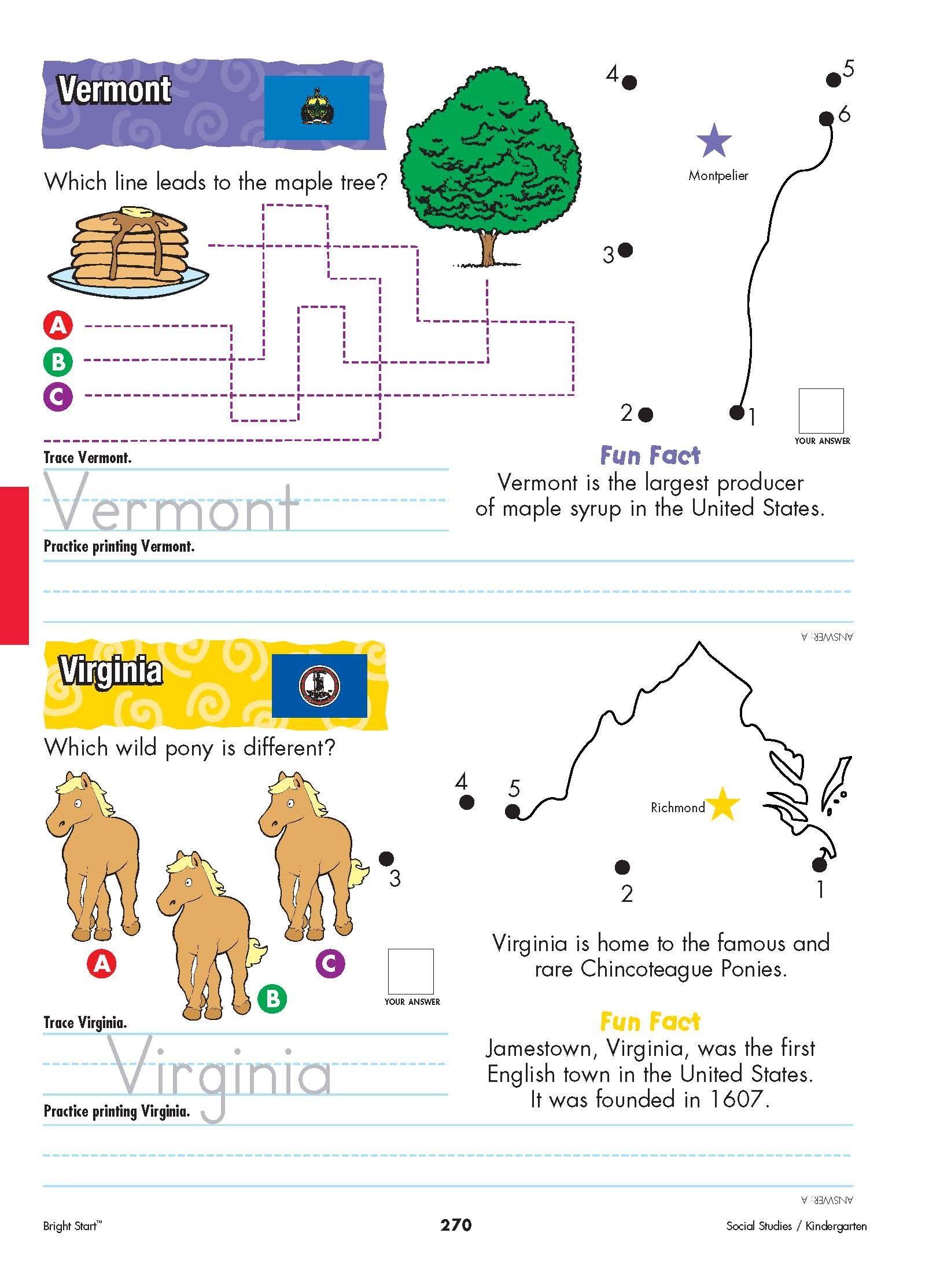 Vermont And Virginia Your Kindergartener Can Practice