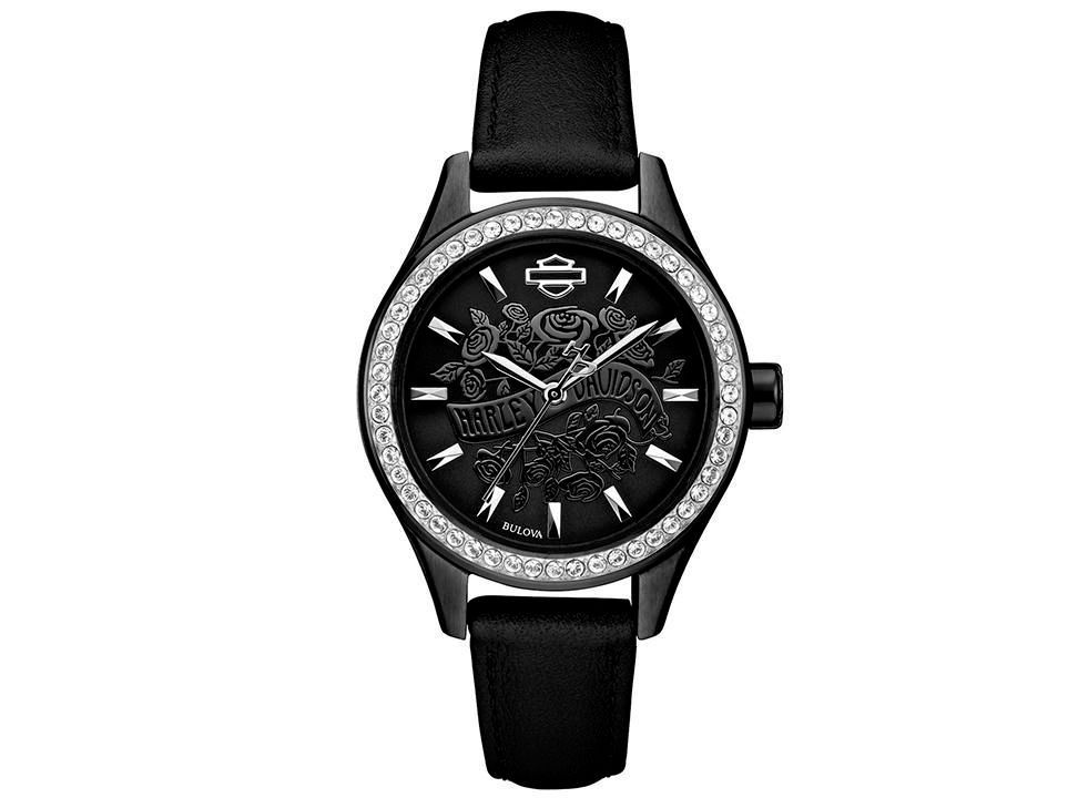 2b7563241f33 Harley Davidson Flower Power 78L119 Reloj para Dama Color Negro ...