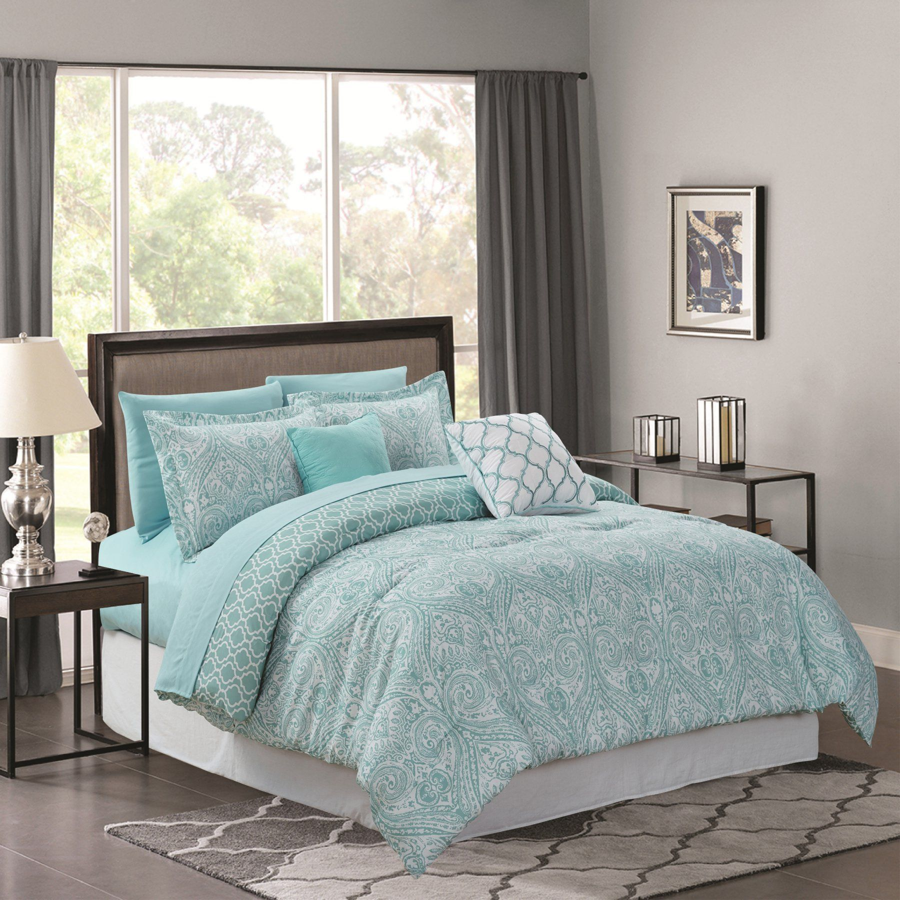 paisley cream brown comforter comforters piece set blue bedding and
