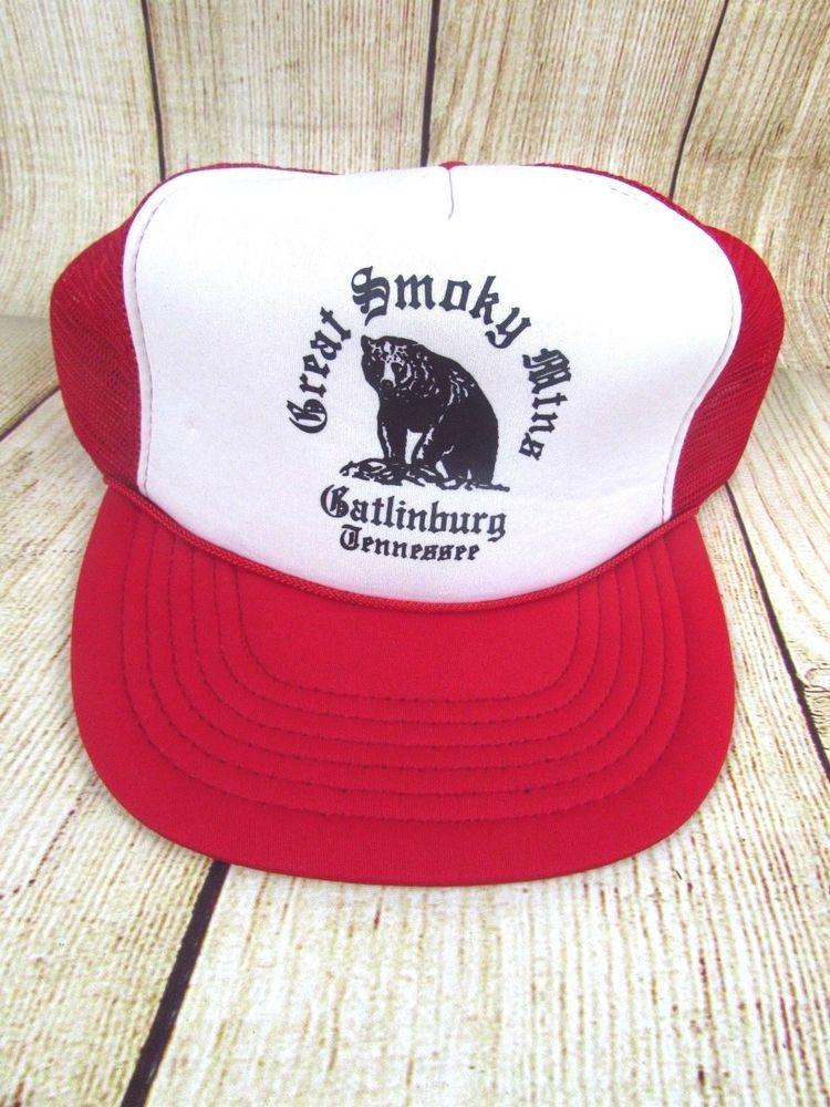 fda0165ff5608 Great Smoky Mountains-Gatlinburg-Vintage Trucker Style Snapback Advertising  Twn  Trucker