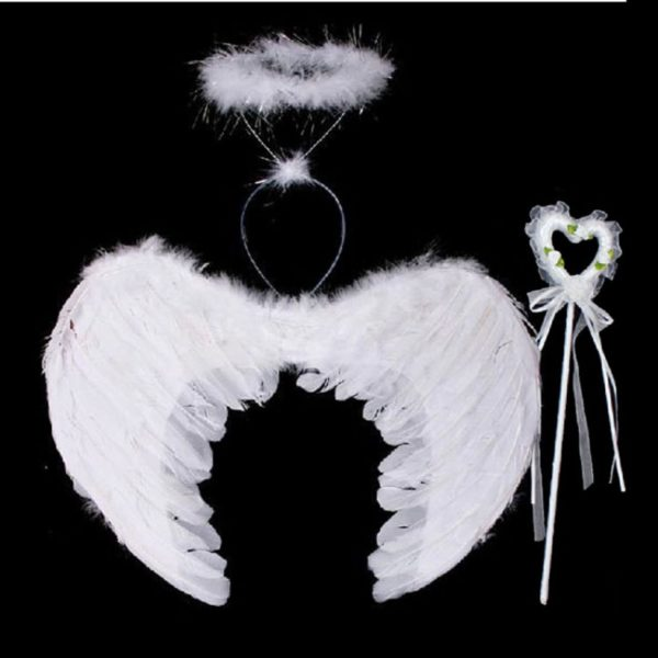 WHITE FANCY DRESS HEN PARTY NATIVITY BEAUTIFUL ANGEL HALO WITH WINGS HEADBAND