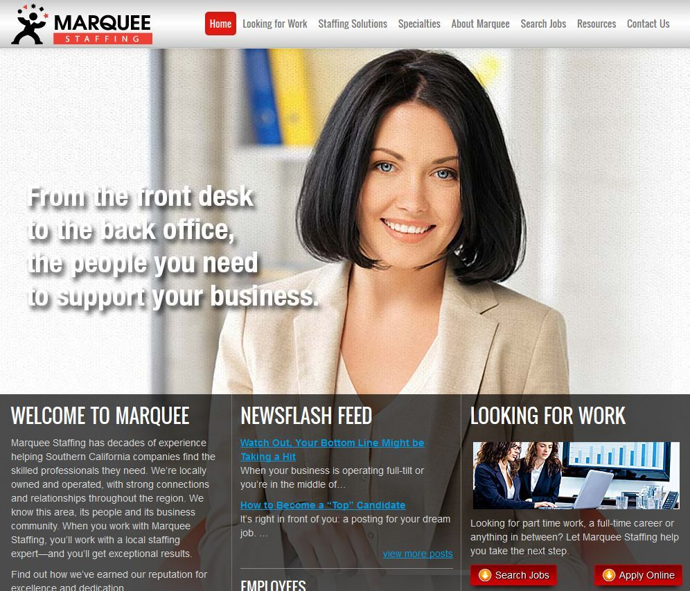 Southern California staffing firm, Marquee Staffing, unveils a new staffing website to help meet the needs of their job candidates and clients.