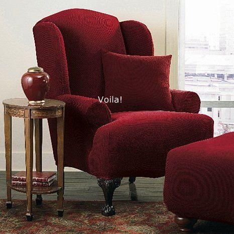 Wing Chair Slipcover Stretch Pique Garnet Burgundy Sure