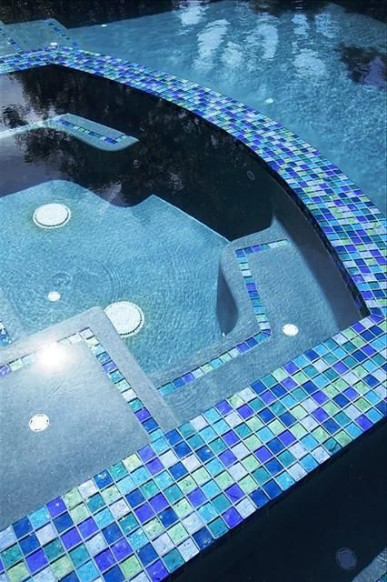 Lightstreams Glass Pool Tile Multicolor Blue Green