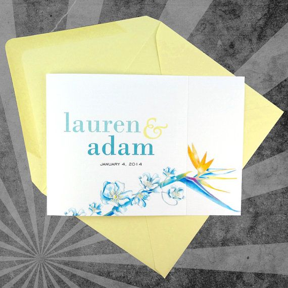 Deposit wedding invitation tropical paradise with teal and yellow ink blossom handmade stationery and wedding invitations ottawa on tropical paradise with stopboris Image collections