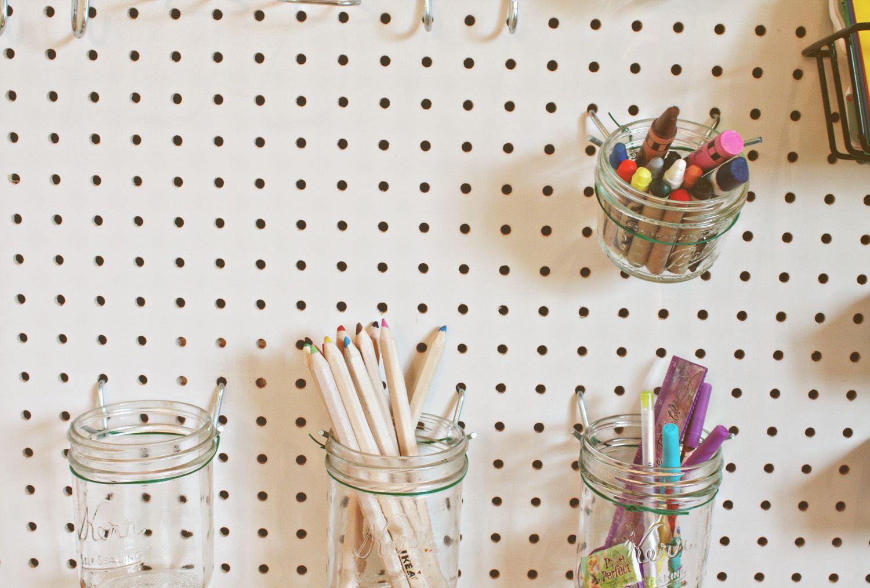 Kid S Pegboard Organizer Peg Board Pegboard Craft Room Craft Room