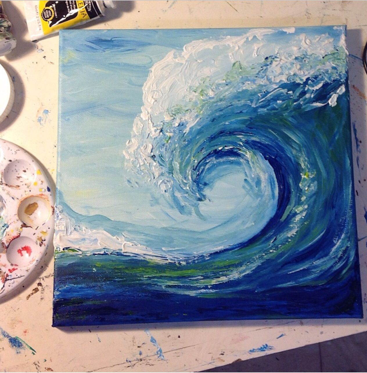 acrylic wave painting by