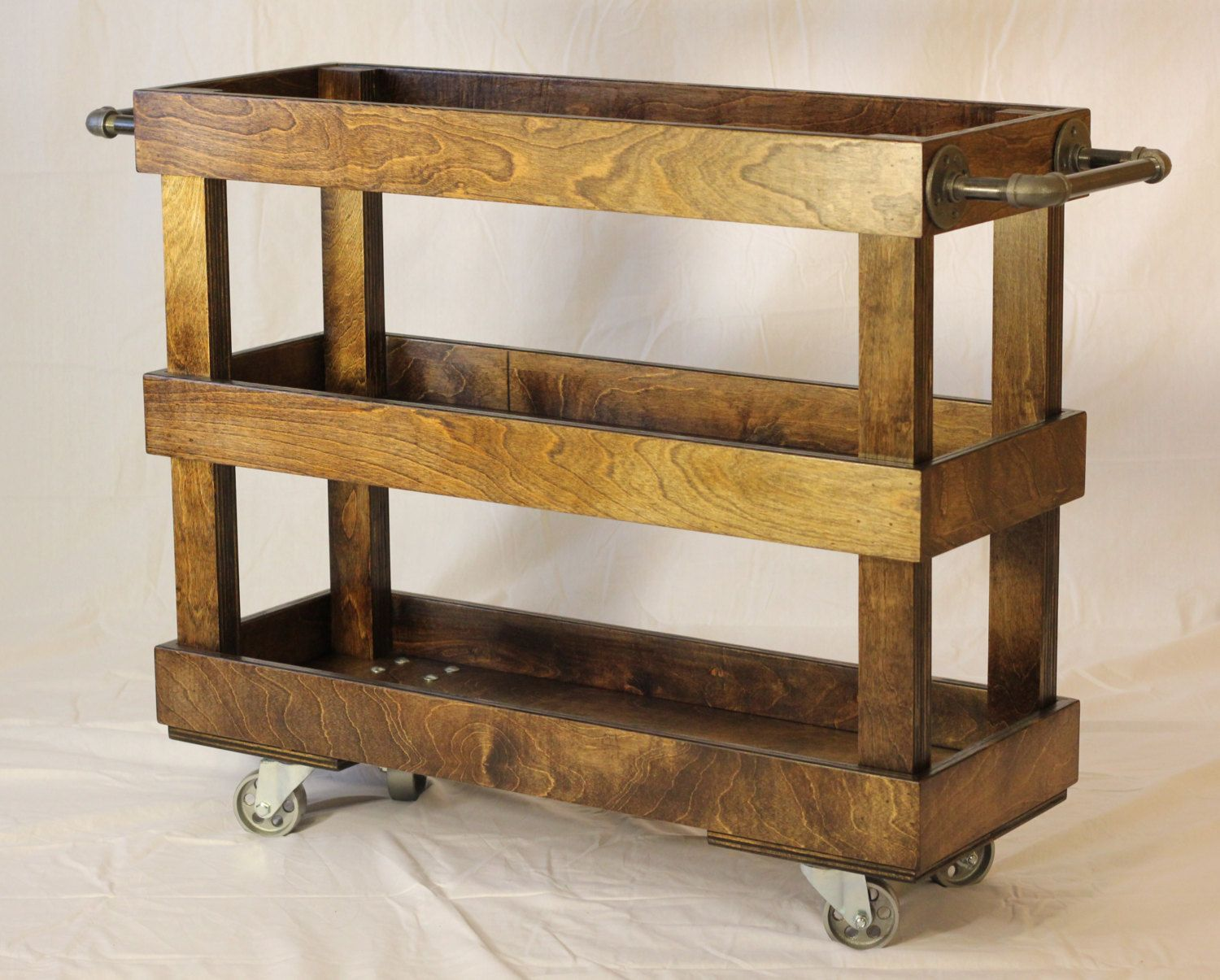 Wood Kitchen Cart With Casters And Industrial Pipe Towel Bars Amazing Rustic Kitchen Cart Design Ideas