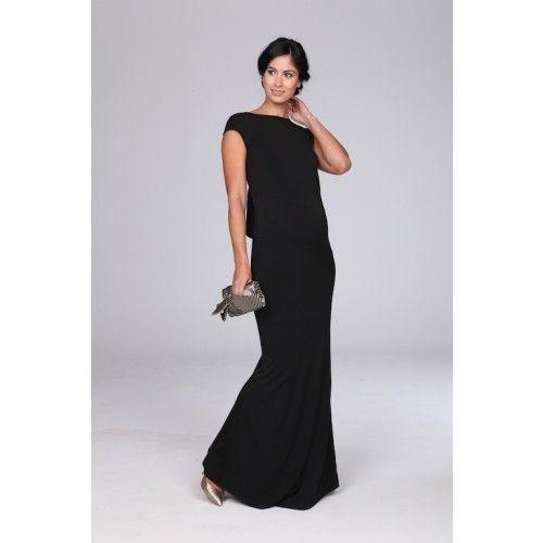 Black Cap Sleeve Maxi Maternity Dress for formal events | Black ...