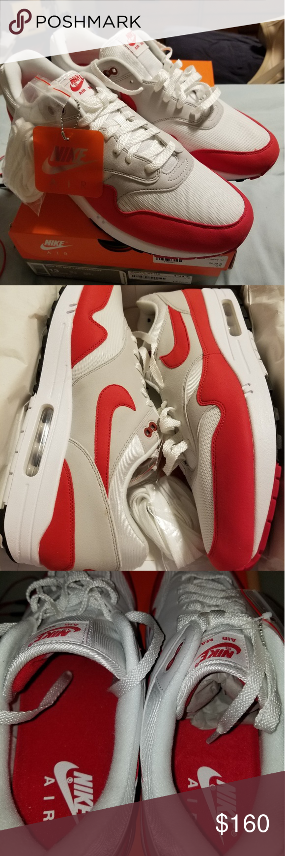 new concept f83fc 9ca96 Air Max 1 Anniversary Selling a pair of Air Max 1 s in the grey red white  color way. Size 13. Brand new. Hit me up if your interested or have any  questions.