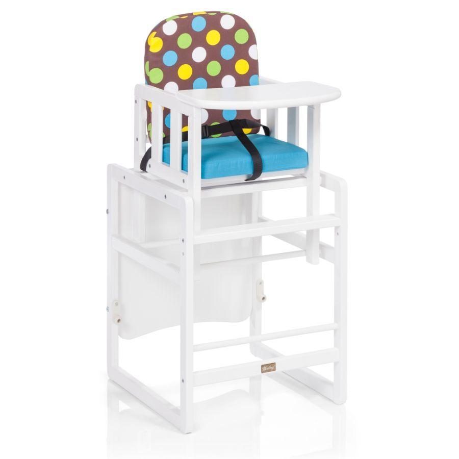 Herlag Kinderstoel Combi Set Tx Iv Wit Blauw Bruin Gestippeld