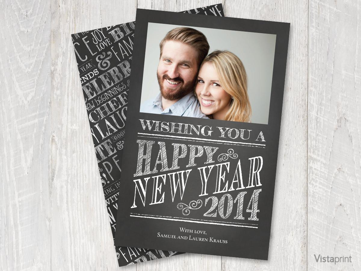 Chalkboard Happy New Year Card Vistaprint Happy New Year Cards New Year Card Cards