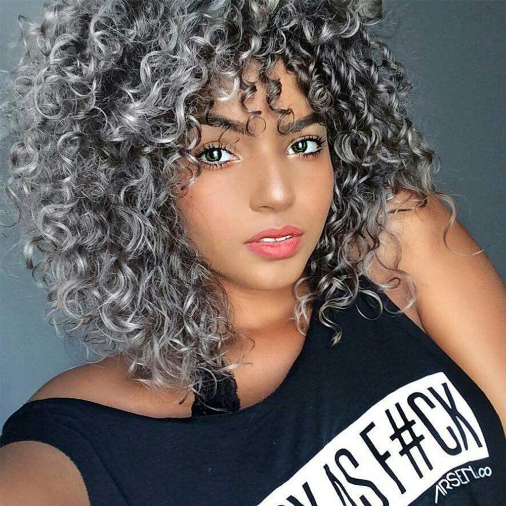 Gray Curly Wig For Women Synthetic Mixed Wig With Bangs For Black Women Hair In 2020 Grey Curly Hair Curly Hair Styles Naturally Curly Hair Styles
