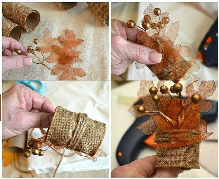 Herbstdeko tisch selber machen  Herbstdeko selber machen -tisch-serviettenringe-klorollen-juteband ...