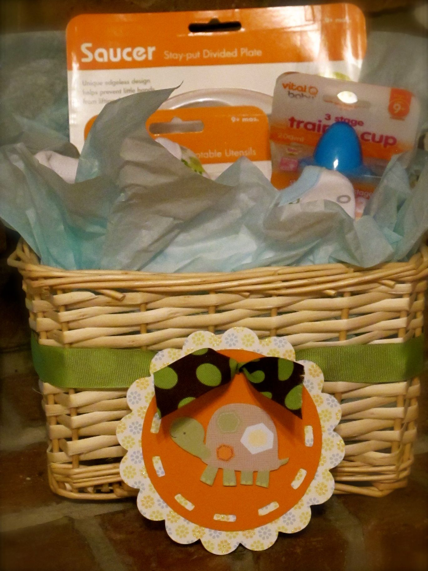 Turtle Baby Gift Basket. Super cute for when you visit a new baby at home!