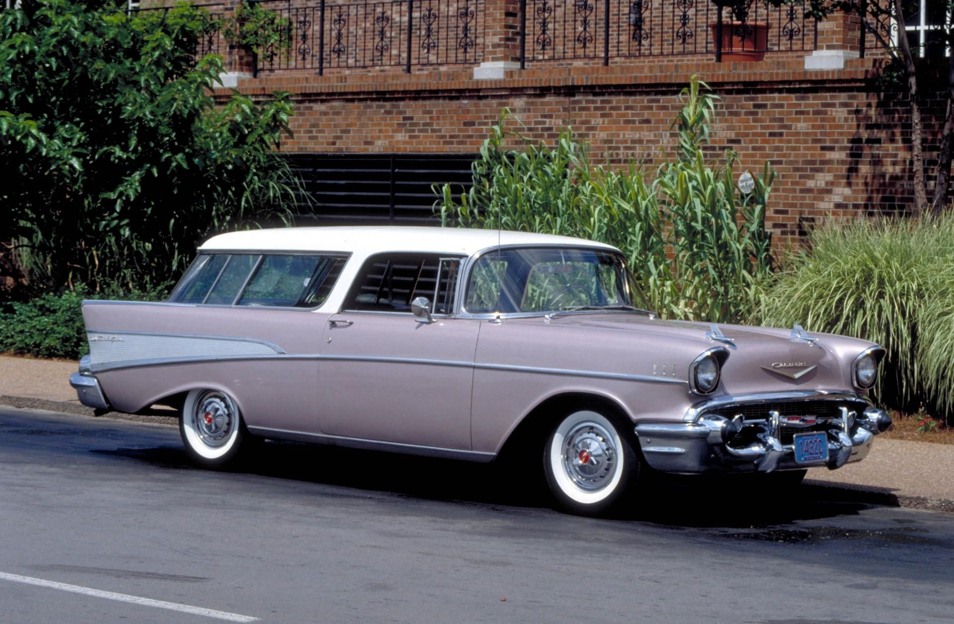 1957 chevrolet bel air nomad in a soft lilac color i remember many trips to the ocean with our surfboards hanging out the back first car of mike de falco