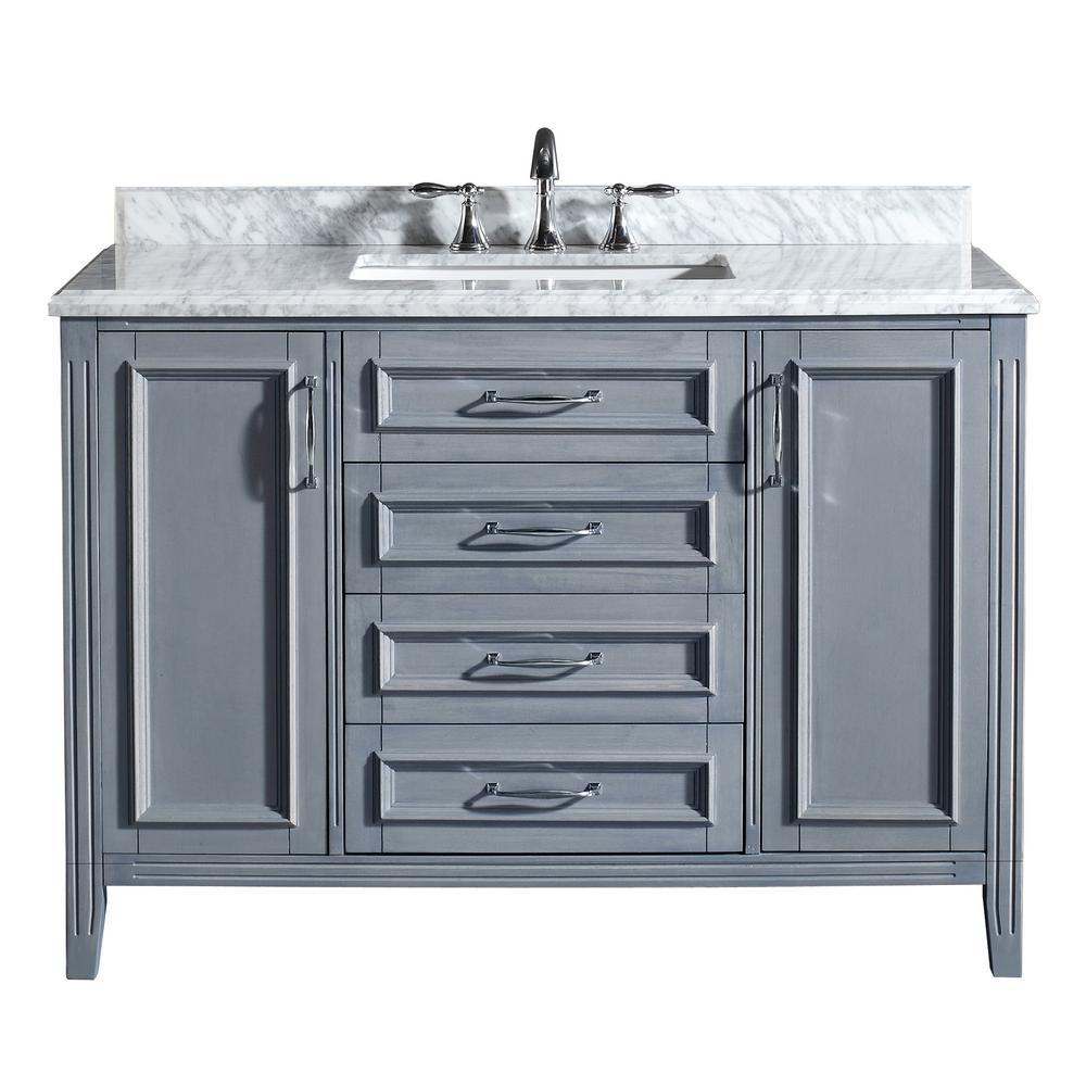 Ove Decors Daniel 48 In Vanity In Gray With Marble Vanity Top In Carrara White Daniel 48 Grey The Home Depot Marble Vanity Tops Vanity Vanity Top