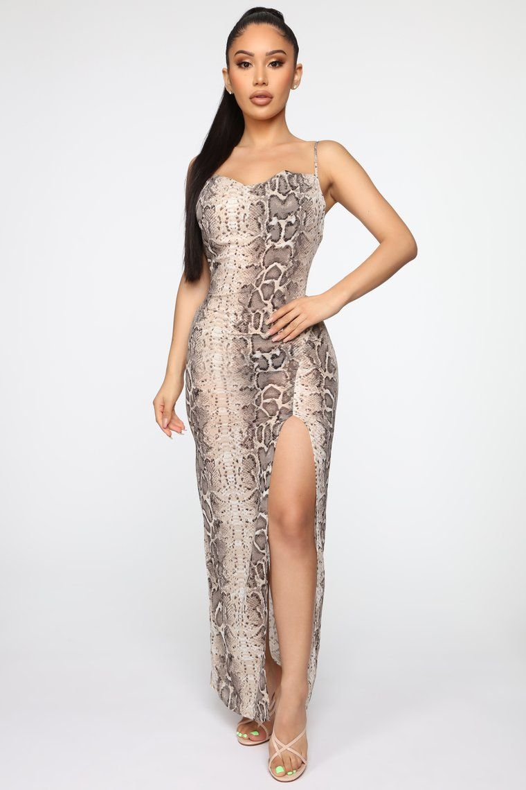 Slithering Away Snake Print Dress Taupe in 2020 Snake