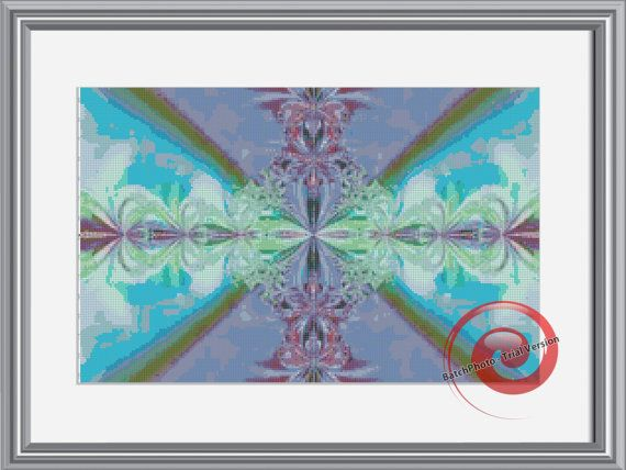 Pastel Fractal Cross Stitch Printable Needlework Pattern - DIY Crossstitch Chart, Relaxing Hobby, Instant Download PDF Design