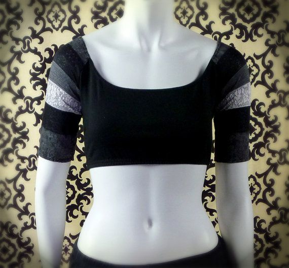 Black choli top - lace stripe shoulder short sleeve class choli - S, XL, 3X  - for belly dance, yoga, fitness $28