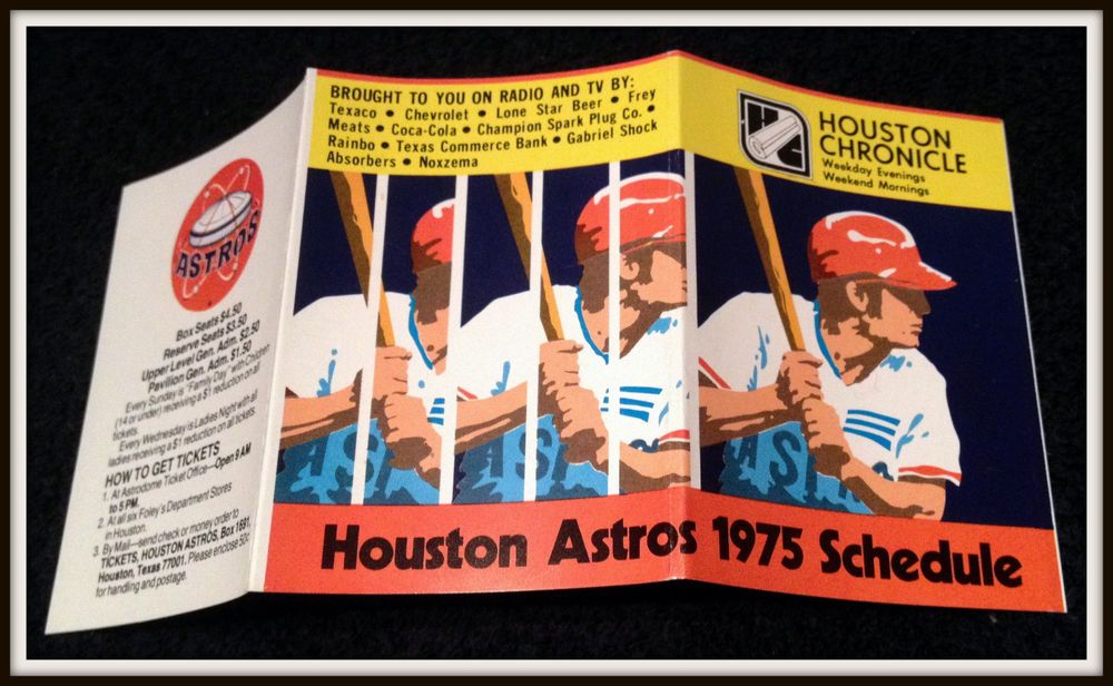 1975 HOUSTON ASTROS HOUSTON CHRONICLE BASEBALL POCKET