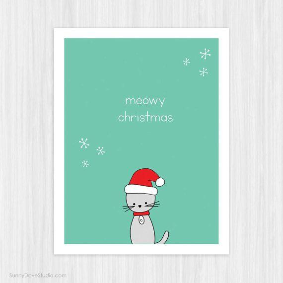 Cute Santa Cat Christmas Card For Friend Her Him Pun Funny