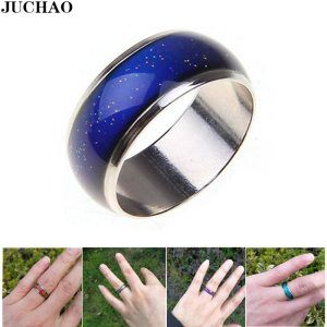 JUCHAO Anillos Mujer 6mm Smart Jewelry Stainless Ring Changing Color Mood Rings Feeling&Emotion Temperature Ring Gift Anel