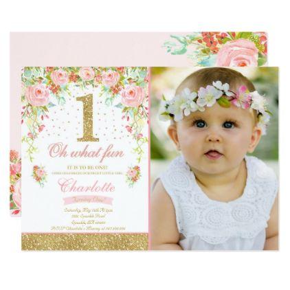 Girl 1st Birthday Invitation Floral Pink Gold Zazzle Com 1st