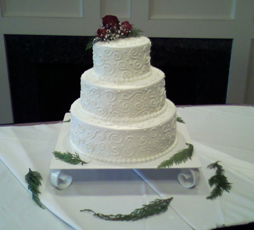 Butter Cream Frosting 3 Tier Wedding Cake Christmas Theme