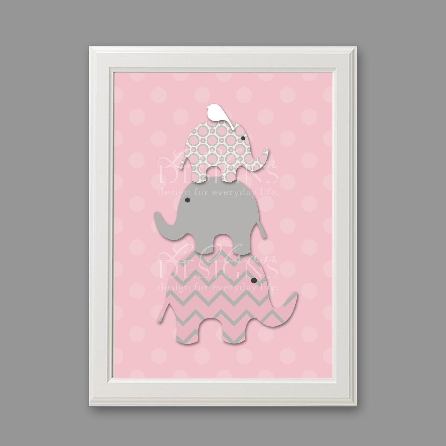 Elephant nursery wall art print mom baby dad by rizzleandrugee - Stacked Elephants Custom Nursery Art 8x10 Digital Print