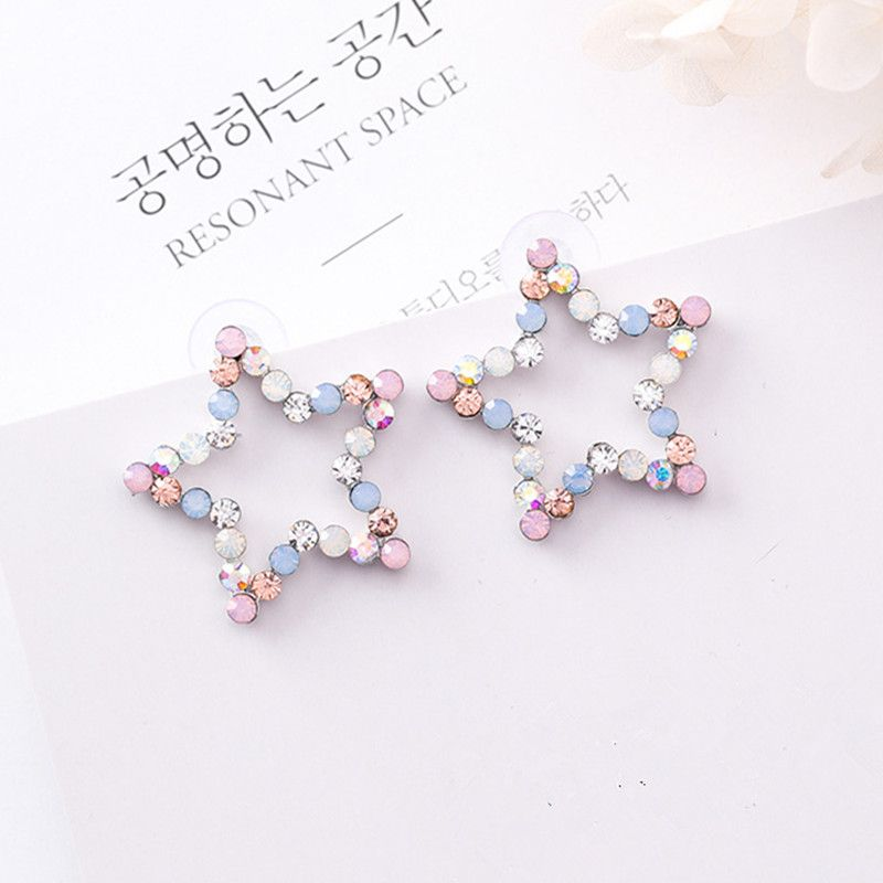 New Korean Hollow Multicolor Rhinestone Star Love Heart Stud Earrings for Women  Cute Fashion Girl Ear 642bde84b00e