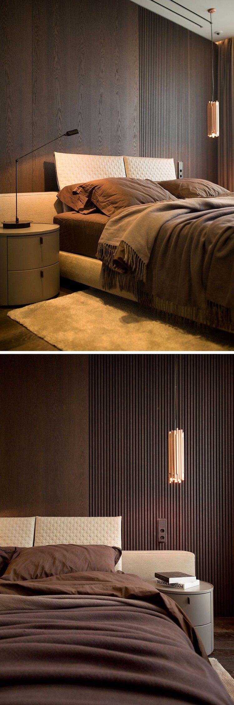 modernes schlafzimmer dunkles holz wandverkleidung pendelleuchte ...