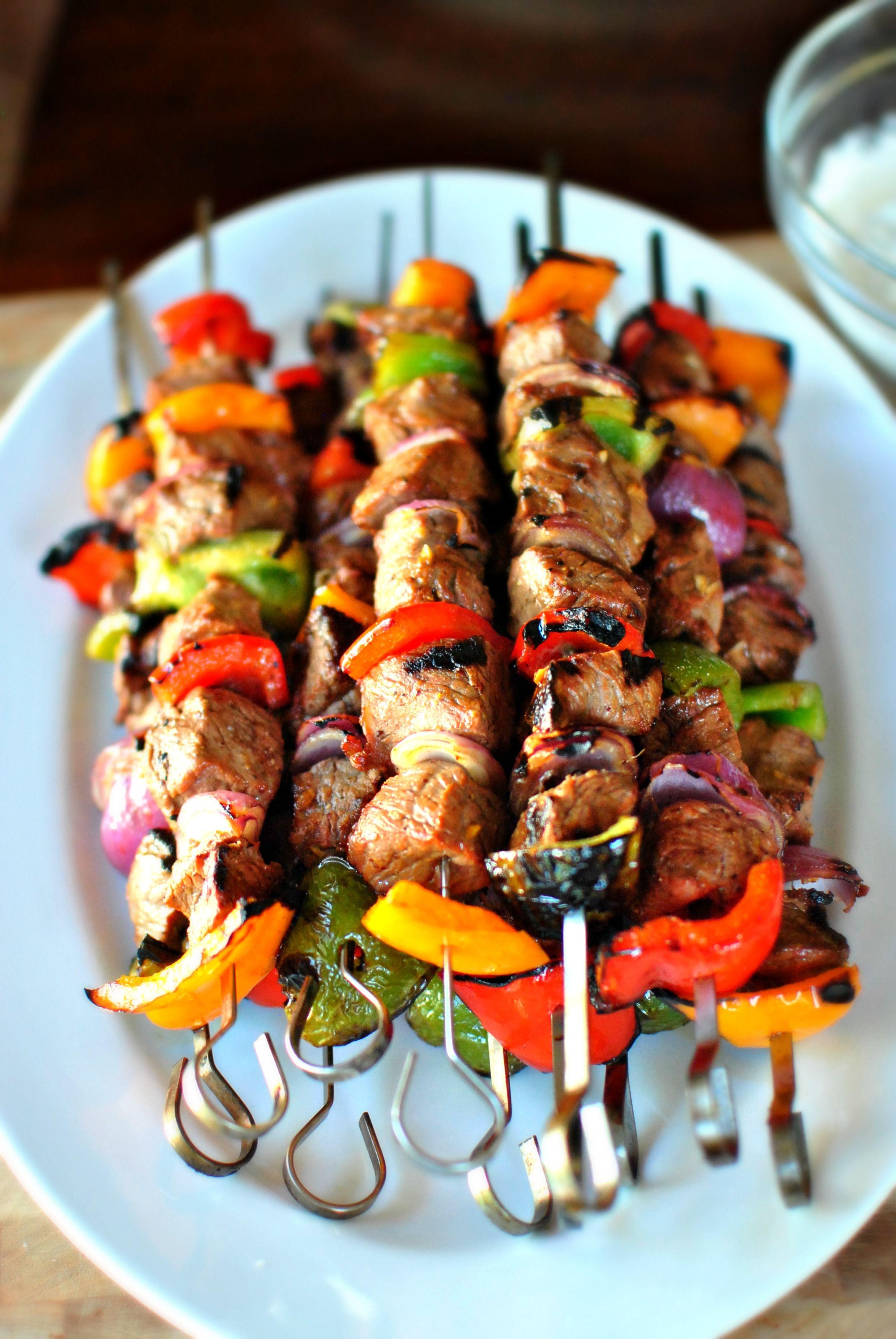Grilled marinated steak kebabs steak kabobs food