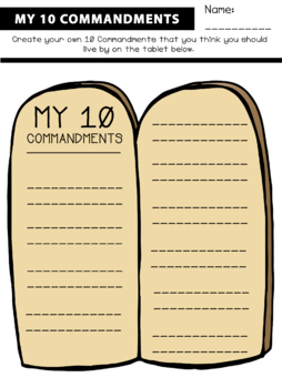 My 10 Commandments Tablet Worksheet By Saving The Teachers Tpt In 2021 10 Commandments 10 Things Worksheets