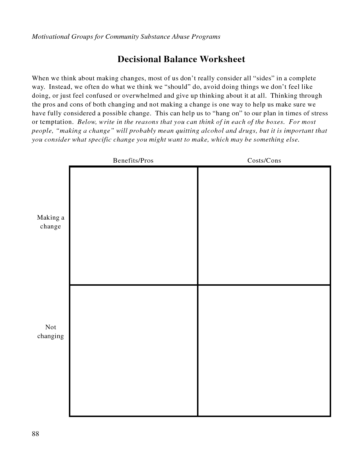 Decisional Balance Worksheet | Therapy Tools | Therapy ...