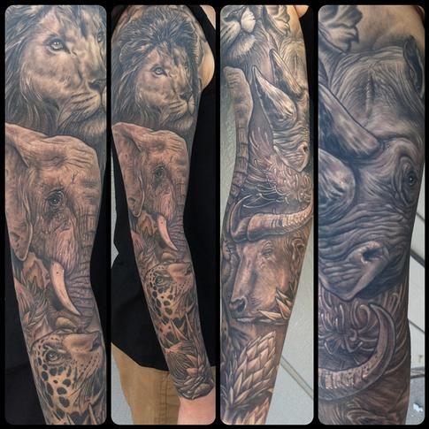 Africa S Big 5 Tattoos Animal Sleeve Tattoo Wrist Tattoos For Guys Best Sleeve Tattoos