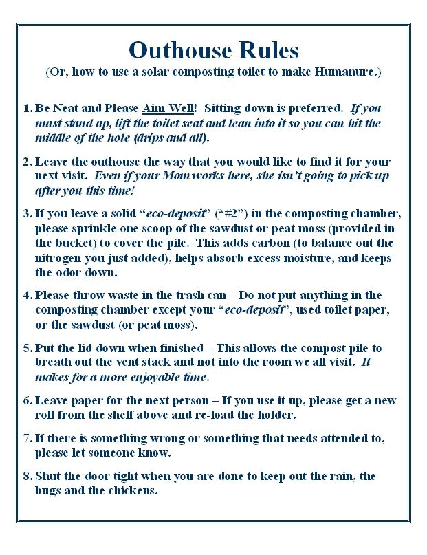Composting Toilet Rules | Minimalist Strategies : Back to Basics ...
