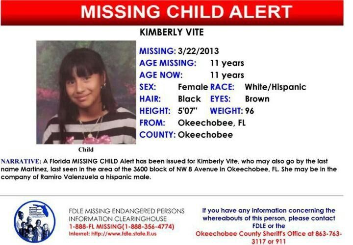 A Missing Child Alert Has Been Issued For An 11 Yr Old Okeechobee