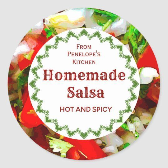 This is a mouthwatering design for the home canning enthusiast with a colorful image of fresh veggies that make up the ingredients of a homemade salsa, ripe red tomato, diced white onion, green spicy peppers and cilantro. ad #Salsa #Canning #MasonJarGifts #HomeMade