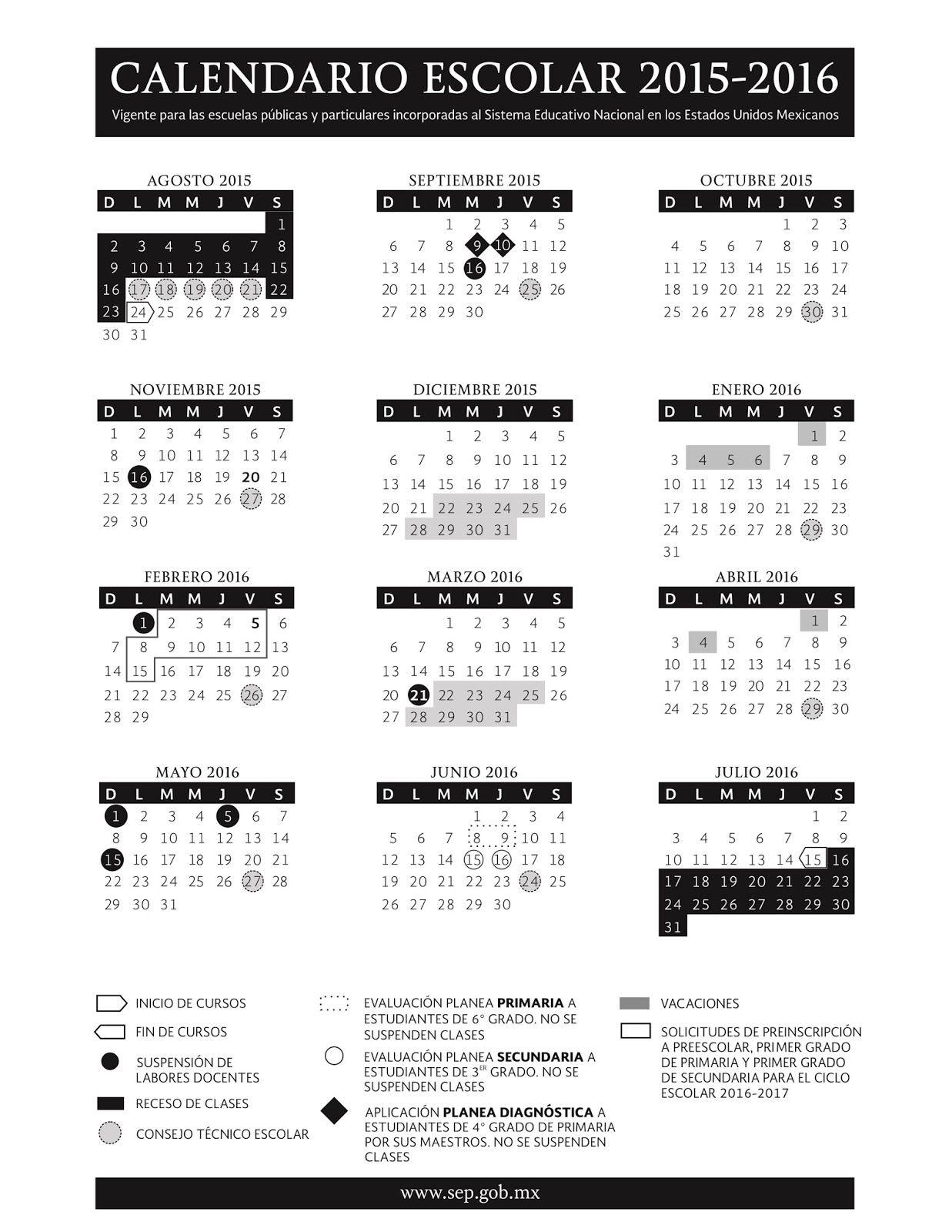 Calendario Escolar 2015 - 2016 | Apoyo Primaria