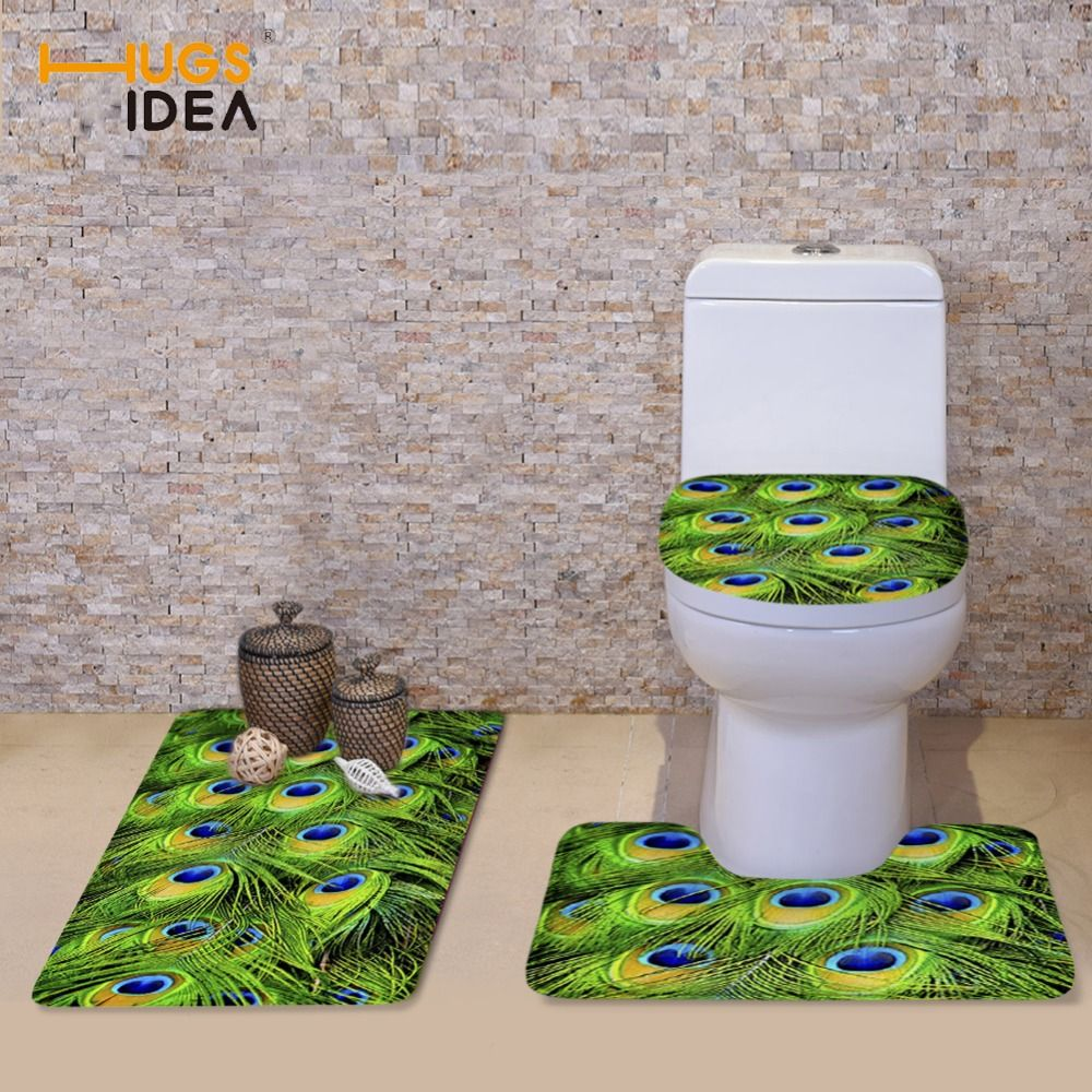 HUGSIDEA PCS Bathroom Toilet Seat Cover Set D Animal Feather - Patterned bath mat for bathroom decorating ideas