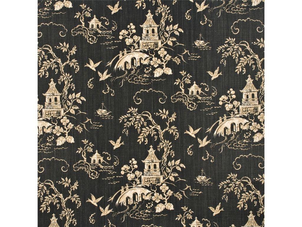 Lee Jofa Kravet Chinoiserie Asian Pagodas Linen Toile Fabric 10